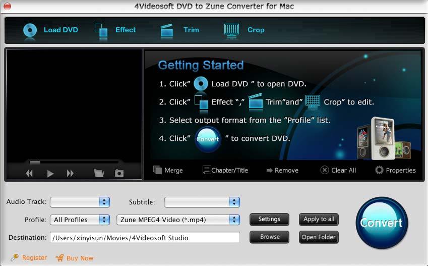 4Videosoft DVD to Zune Converter for Mac