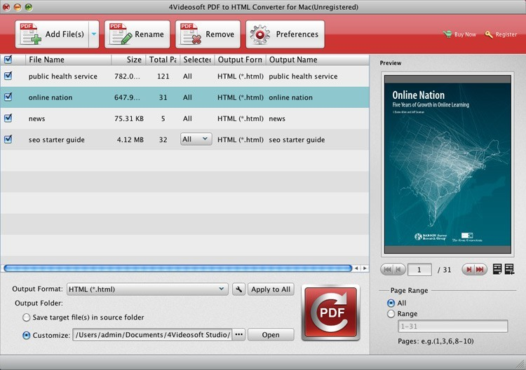 4Videosoft PDF to HTML Converter for Mac