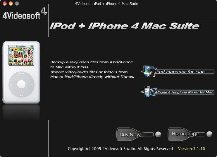 4Videosoft iPod + iPhone 4 Mac Suite