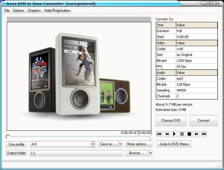 Avex DVD to Zune Converter