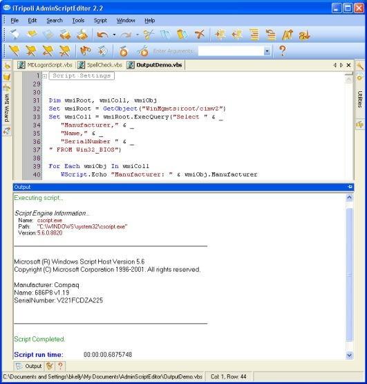 Admin Script Editor