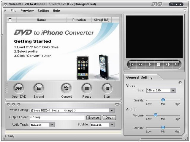 Nidesoft DVD to iPhone/iPod Converter