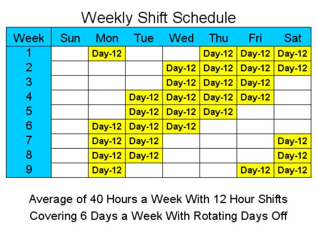 12 Hour Schedules for 6 Days a Week