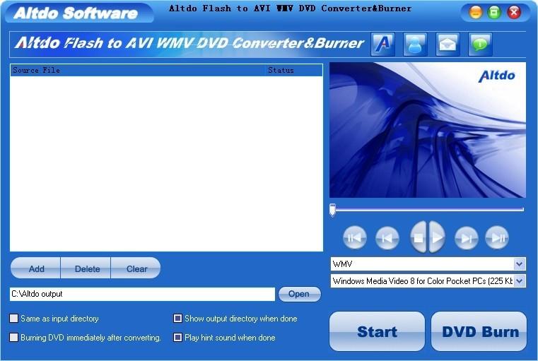 Altdo Flash to AVI DVD Converter&Burner