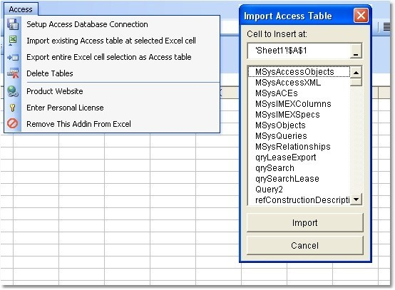 Excel MS Access Import, Export & Convert Software