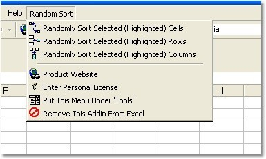 Excel Random Sort Order of Cells, Rows & Columns Software
