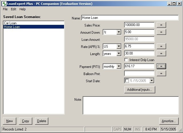 Mortgagecalc v1. 00 freeware for windows mobile phone.