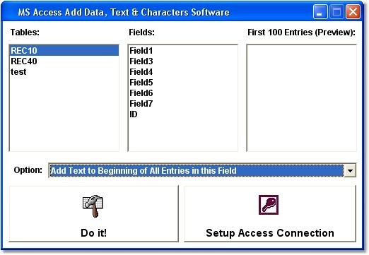 MS Access Add Data, Text & Characters Software
