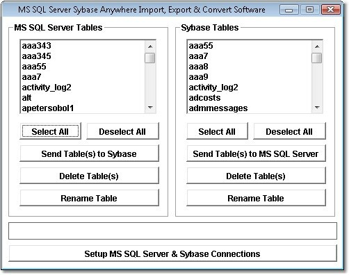 MS SQL Server Sybase Anywhere Import, Export & Convert Software