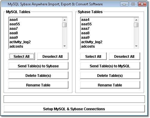 MySQL Sybase Anywhere Import, Export & Convert Software