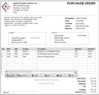 OrderGen Purchase Order Form