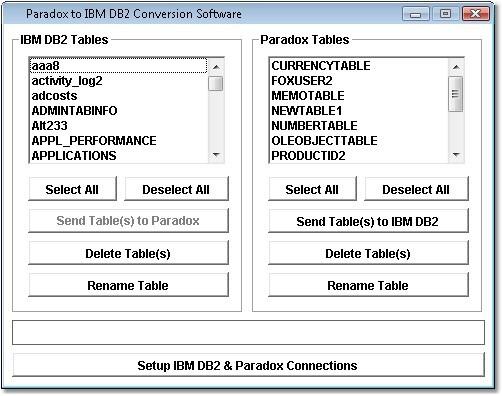 Paradox to IBM DB2 Conversion Software