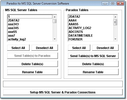 Paradox to MS SQL Server Conversion Software