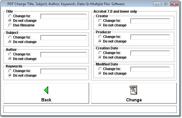 PDF Change Title, Subject, Author, Keywords, Dates In Multiple Files Software