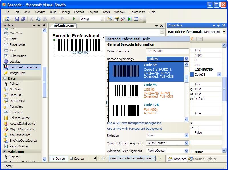 ASP.NET Barcode Professional