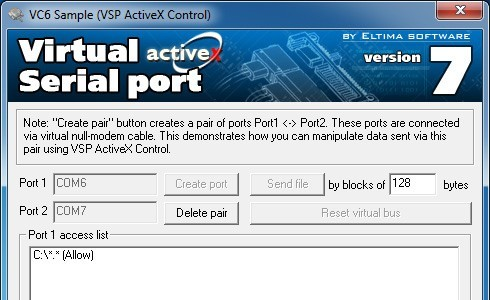 Eltima Virtual Serial Port AX Control