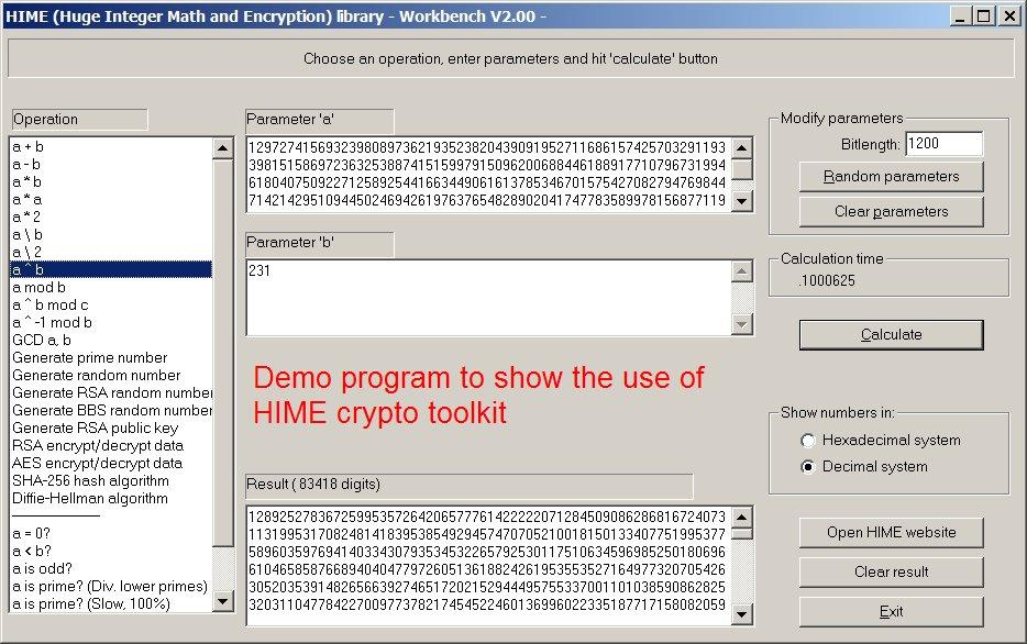 HIME: Huge Integer Math and Encryption