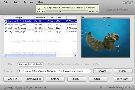 Lenogo Video to iPod Converter version 0