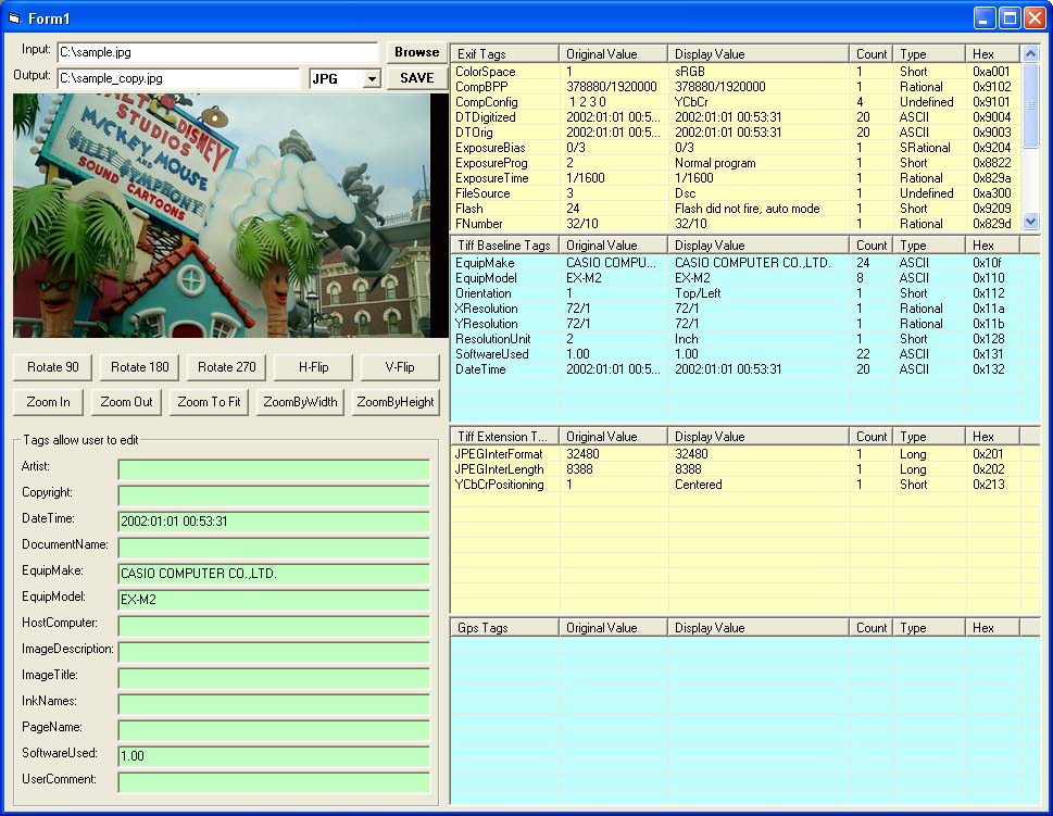 X360 Exif & Tiff Tag Viewer ActiveX OCX
