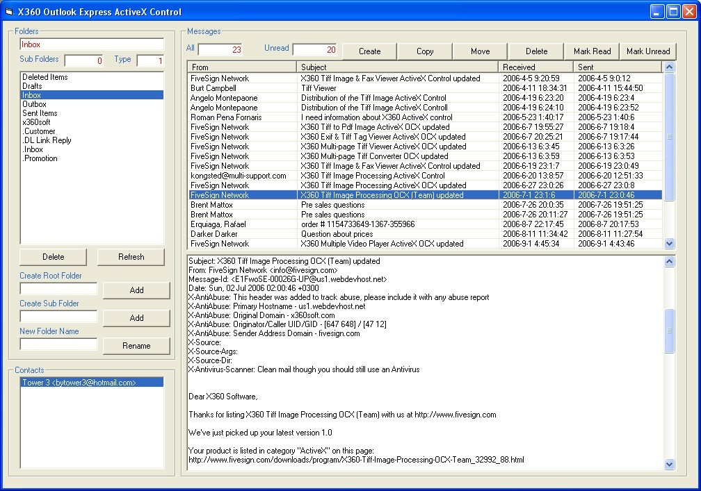 X360 Outlook Express ActiveX OCX