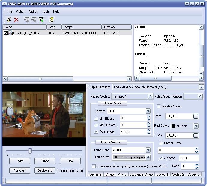 YASA MOV to MPEG WMV AVI Converter
