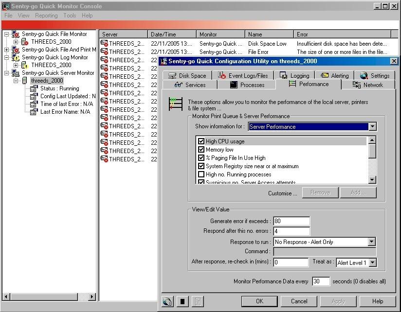 Sentry-go Quick Server Monitor