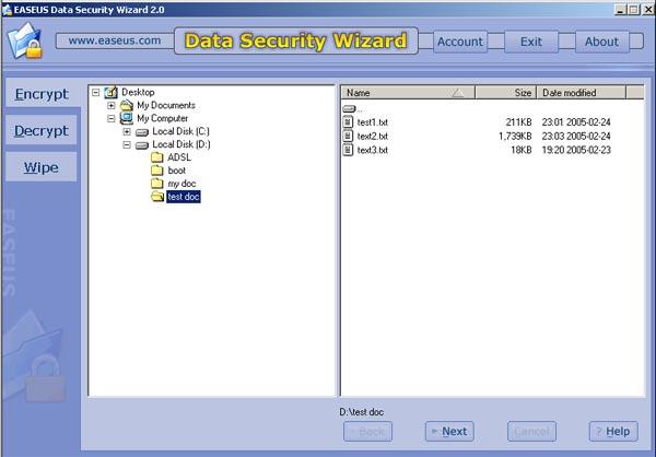 EASEUS Data Security Wizard