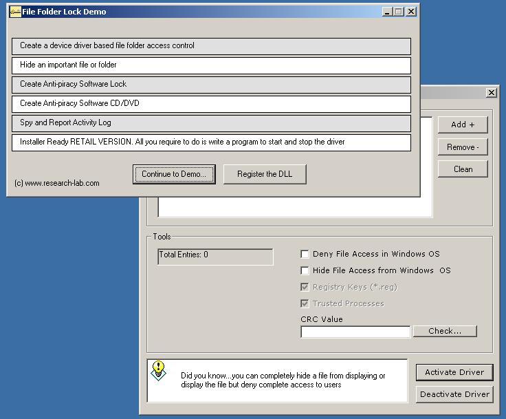 File Lock DLL Device Driver