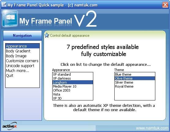 My Frame Panel ActiveX