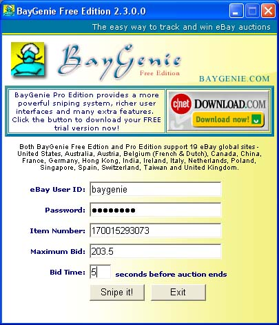 BayGenie eBay Auction Sniper Free