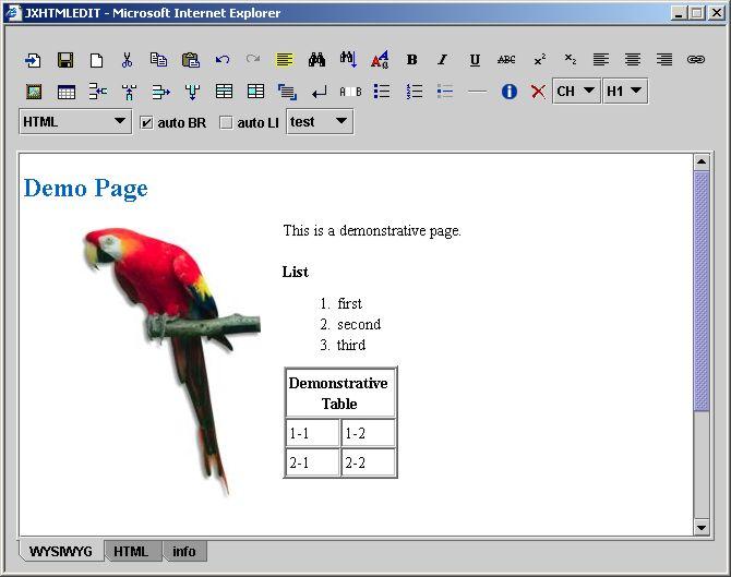 JXHTMLEDIT - WYSIWYG XHTML Editor