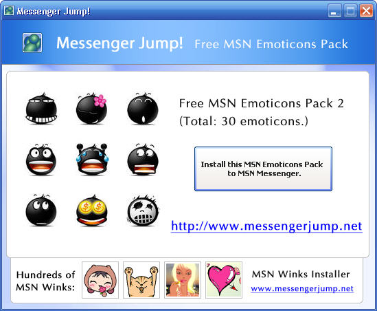 MsgJump! Free MSN Emoticons Pack 2