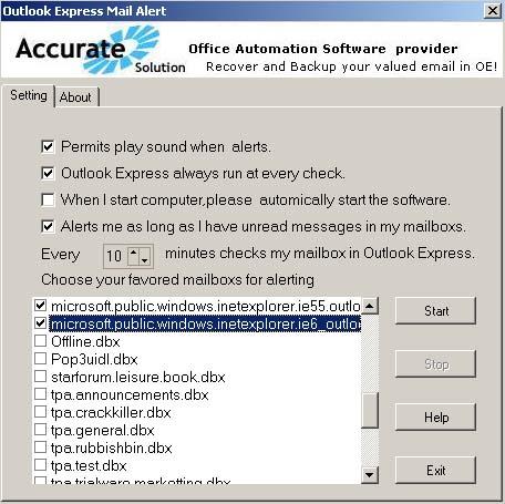 Outlook Express Mail Alert
