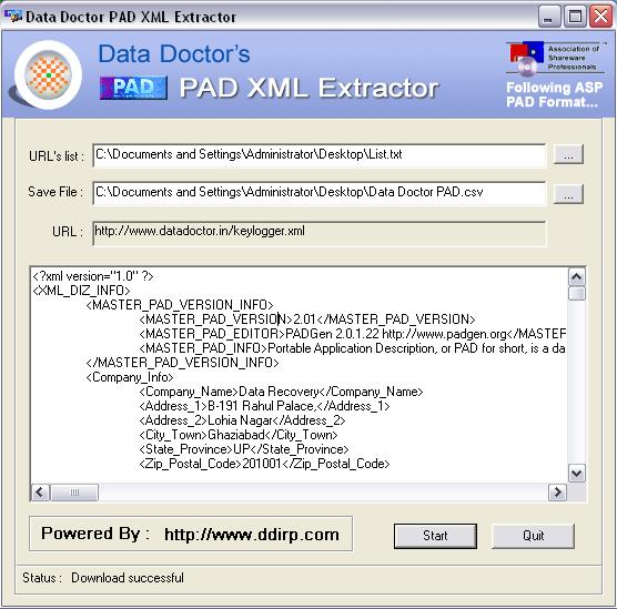 PAD Information Extraction Utility