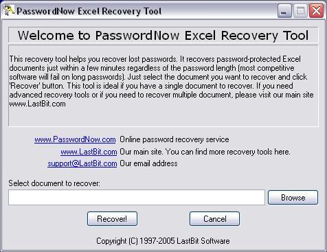 PasswordNow Excel Recovery Tool