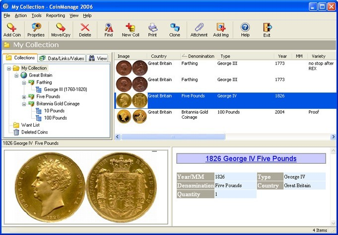 CoinManage UK Coin Collecting Software