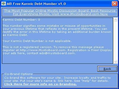 MB Free Karmic Debt Number