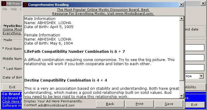 MB Free Numerology Compatibility Software