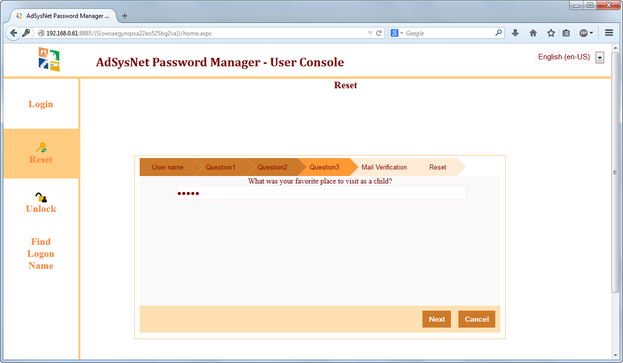 AdSysNet Self-Service Password Reset