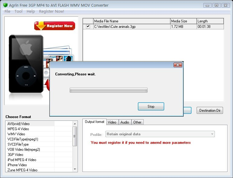 Agrin Free 3GP MP4 to AVI WMV Converter