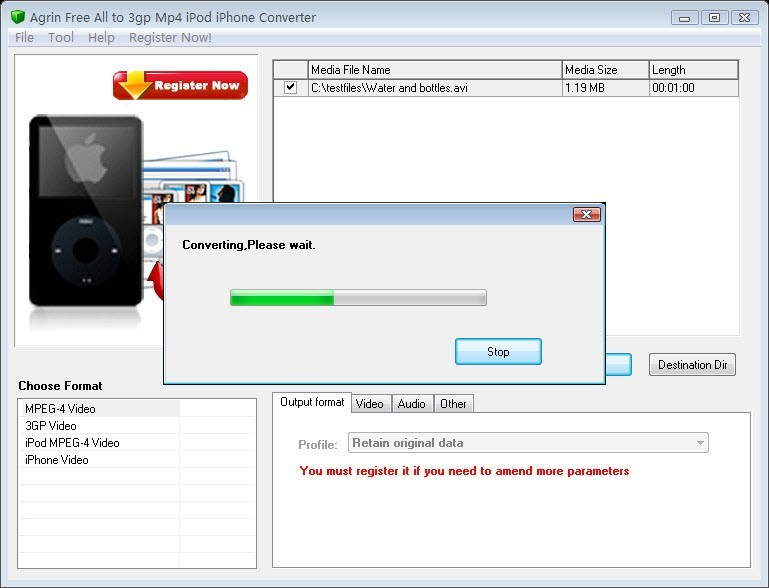 Agrin Free All to 3gp Mp4 iPod Converter