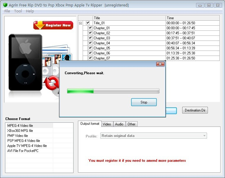 Agrin Free Rip DVD to Psp Xbox Ripper