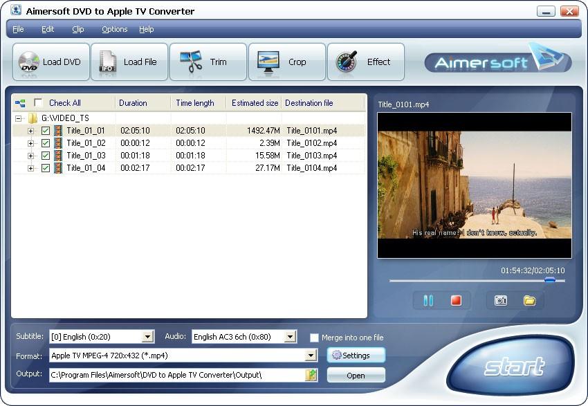 Aimersoft DVD to Apple TV Converter