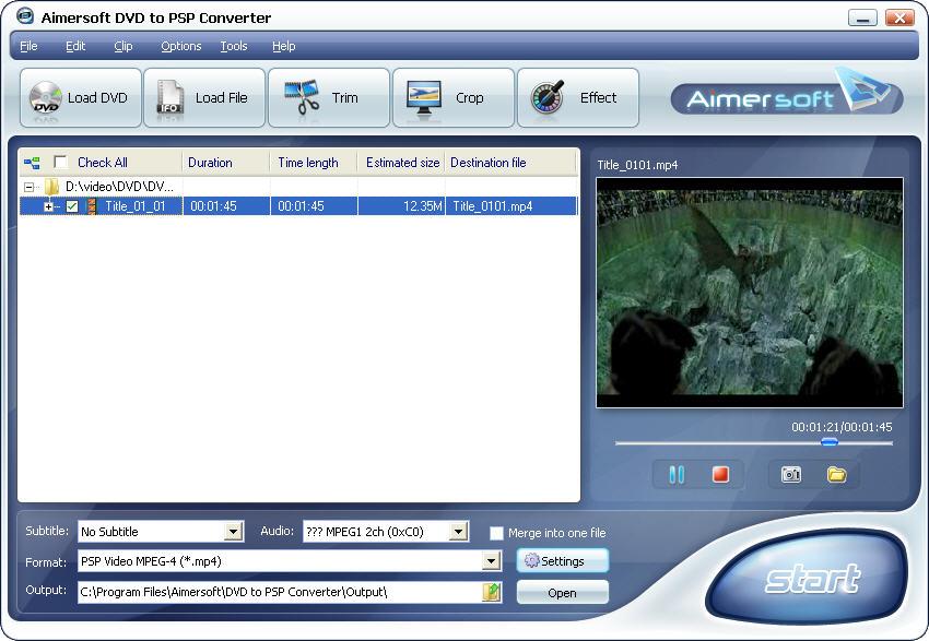 Aimersoft DVD to PSP Converter