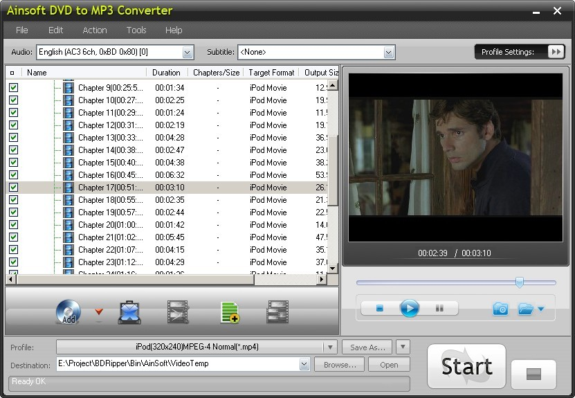 Ainsoft DVD to MP3 Converter