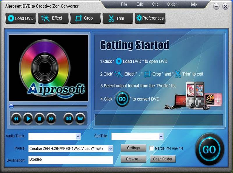 Aiprosoft DVD to Creative Zen Converter