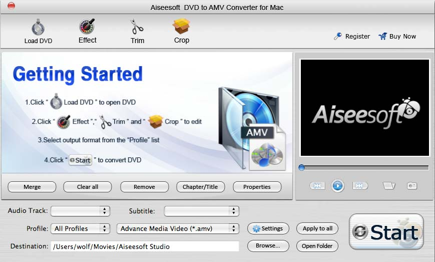 Aiseesoft DVD to AMV Converter for Mac
