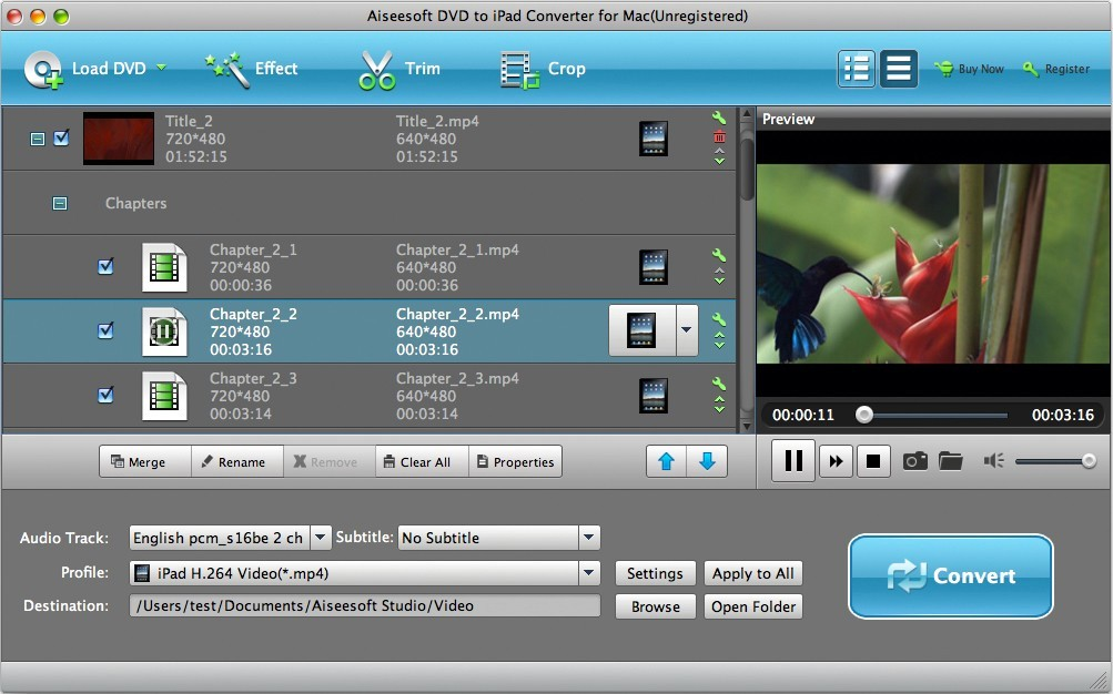 Aiseesoft DVD to iPad Converter for Mac