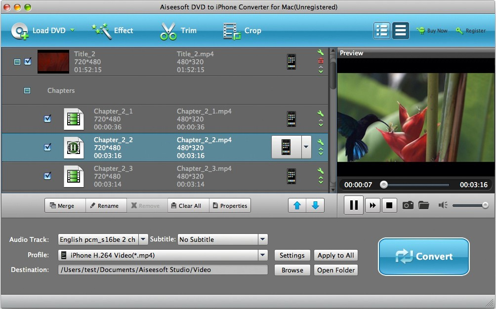 Aiseesoft DVD to iPhone for Mac