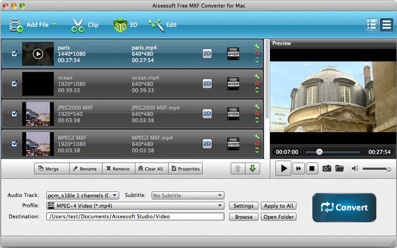 Aiseesoft Free MXF Converter for Mac